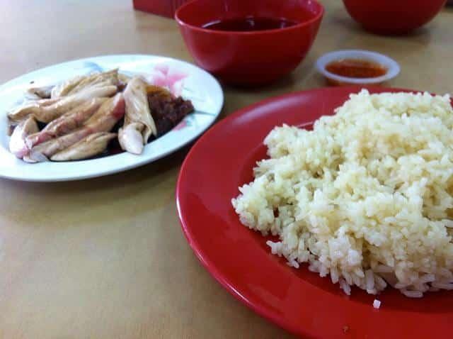 Arroz com frango chinês na Malásia
