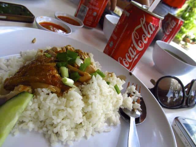 Arroz com frango - comida típica da Malásia
