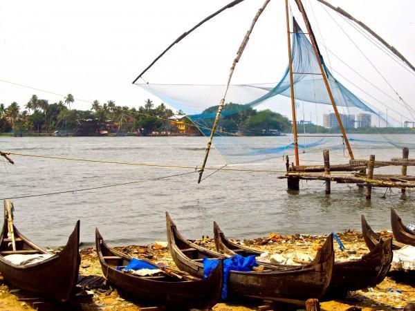 Rede de pesca Chinesa no Kerala
