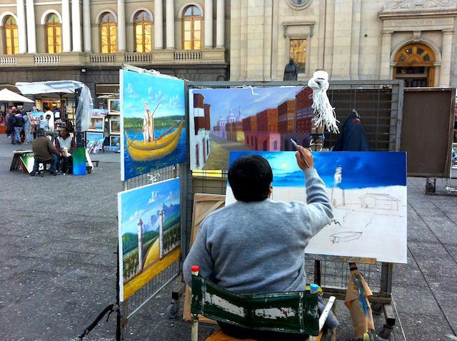 Artista-na-Plaza-de-Armas, Santiago - Chile