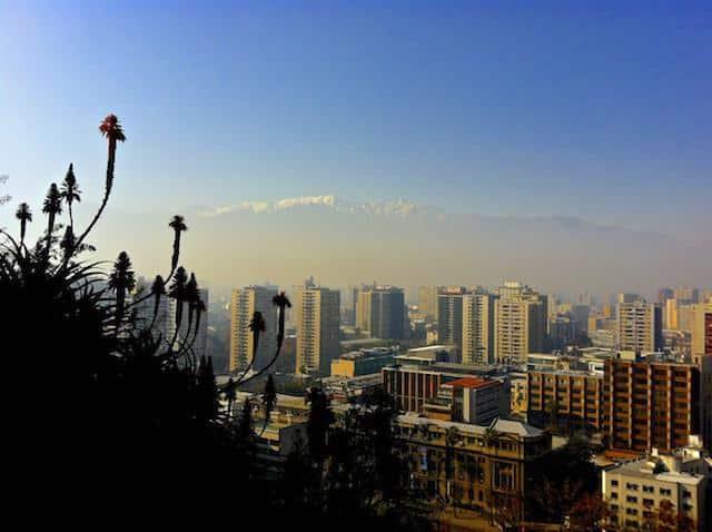 Vista dos cerros de Santiago, Chilhe
