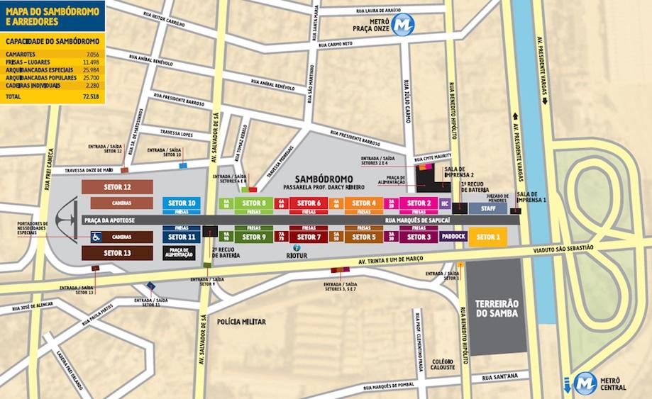 Mapa sambódromo do Carnaval no Rio de Janeiro
