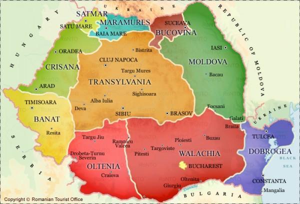 mapa romênia