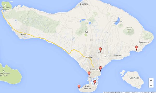 Mapa de Bali - Onde ficar