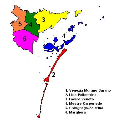 Mapa de bairros de Veneza