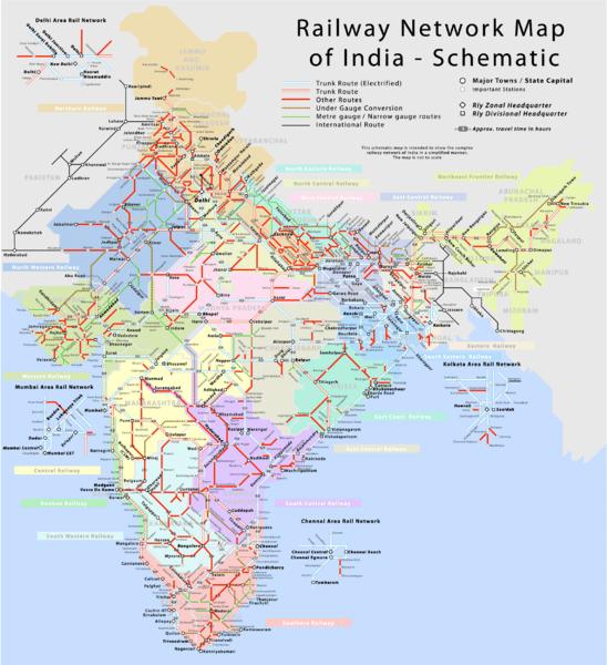 mapa de transporte ferroviario da Índia