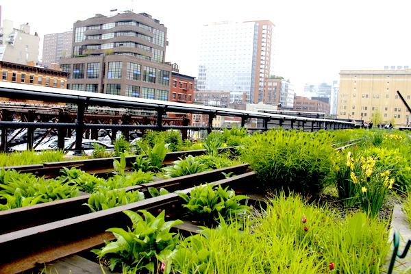 Trilhos de trem no High Line NYC