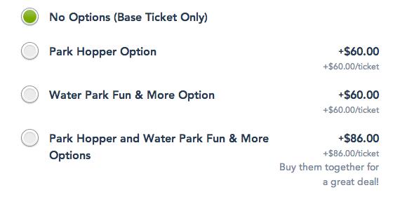 Adicionais ingressos Disney