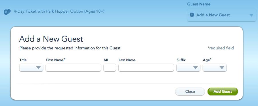 Novo usuário - Ingressos da Disney