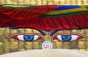 A estupa de Boudhanath, em Katmandu, no Nepal