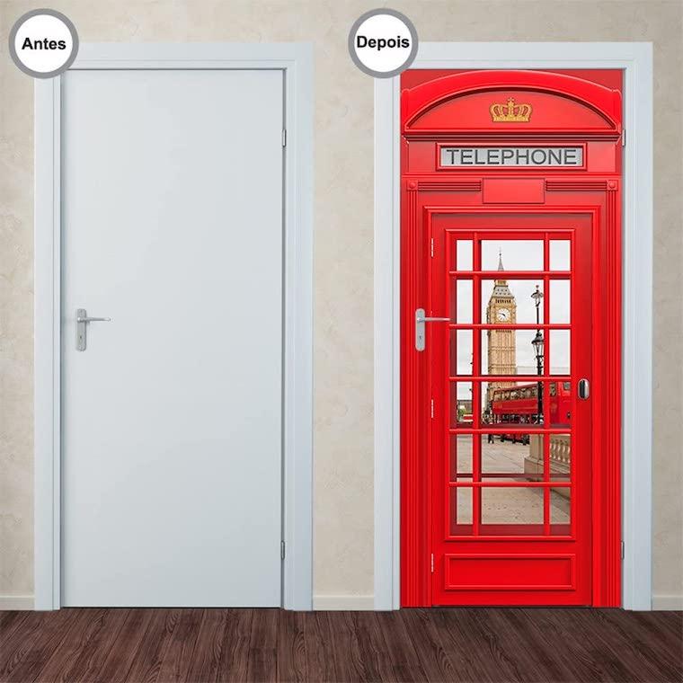 decoracao com tema viagem adesivo porta cabine telefonica