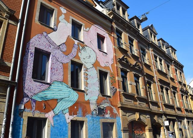 Neustadt em Dresden grafite blu