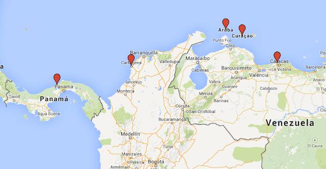 Mapa cruzeiro Antilhas e Caribe Sul