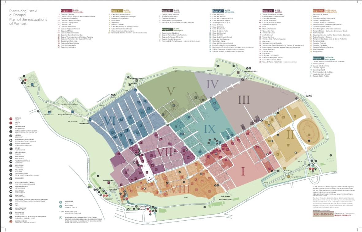 Mapa das Ruinas de Pompeia Italia