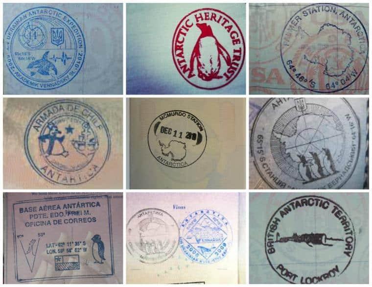 Antártica: Carimbos de passaporte