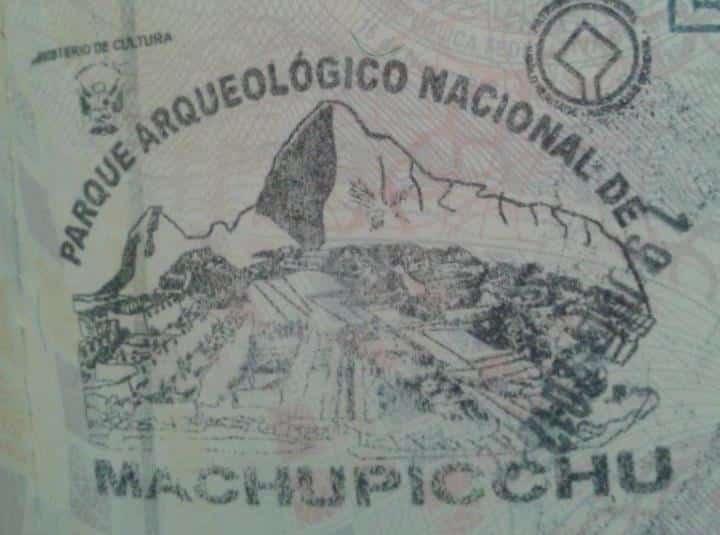 Carimbo de Machu Picchu, Peru