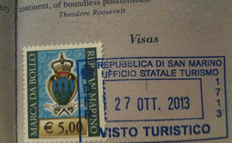 Carimbo de passaporte San Marino