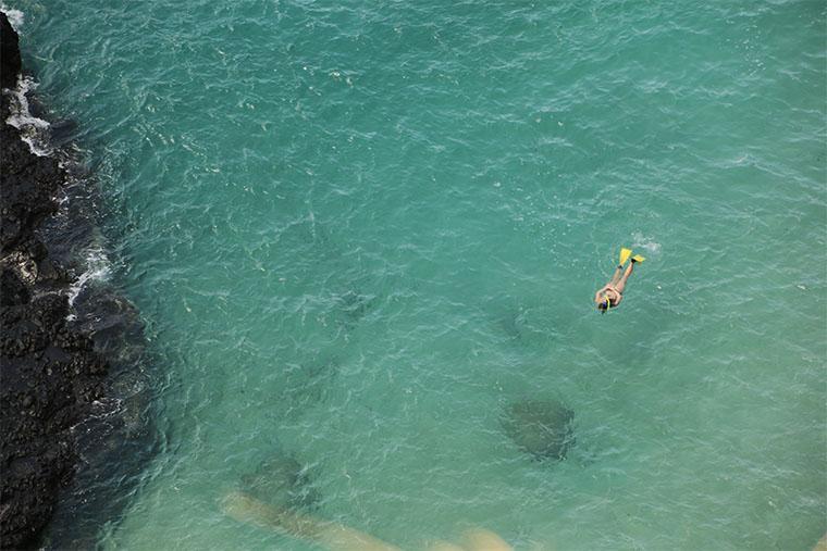 homem faz snorkeling em fernando de noronha