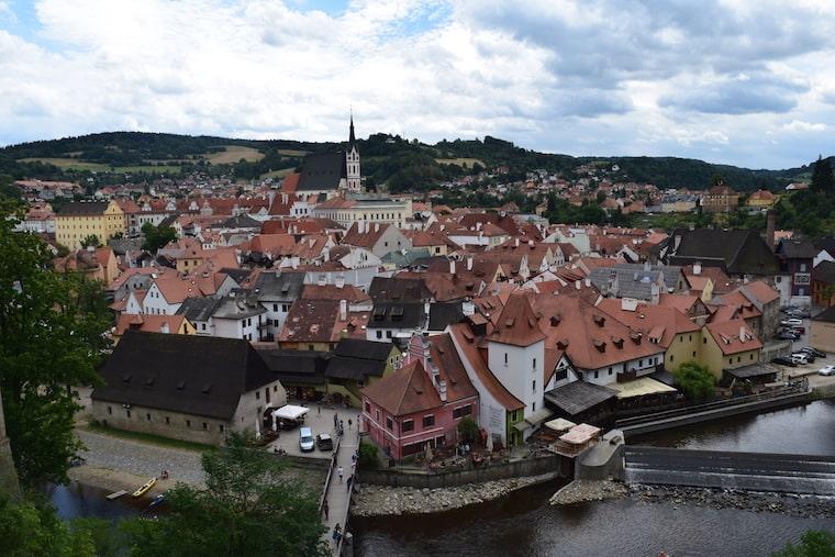 Cesky Krumlov República Tcheca vista da torre