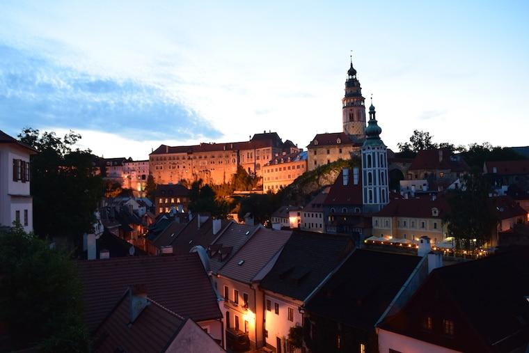 Cesky Krumlov República Tcheca vista cidade cores