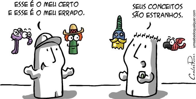 Quadrinho do cartunista Carlos Ruas sobre o etnocentrismo