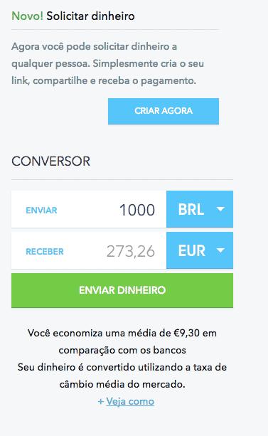 Transferwise: conversor de moedas