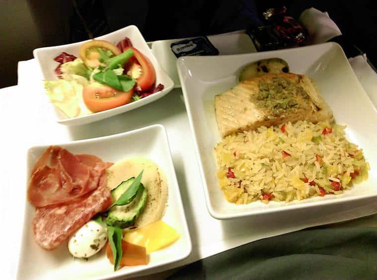 comida do voo da American Airlines