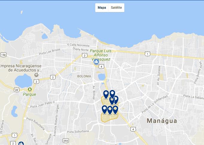 Onde ficar em Manágua - Mapa