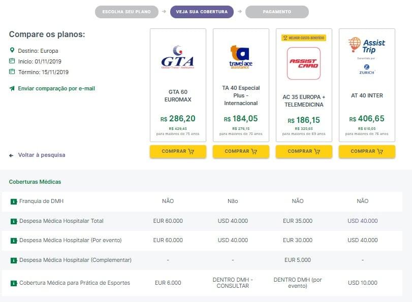 tela de comparação da seguros promo