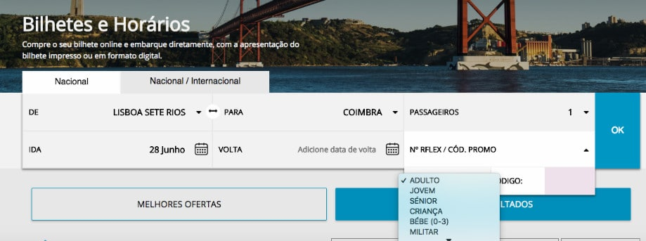como comprar passagem de onibus portugal