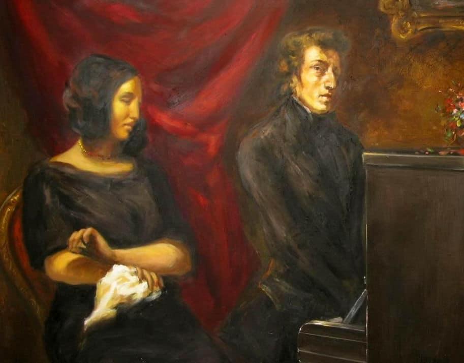 Chopin e Sand por Delacroix