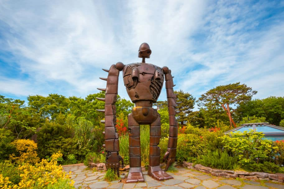 estatua robo jardins do museu ghibli