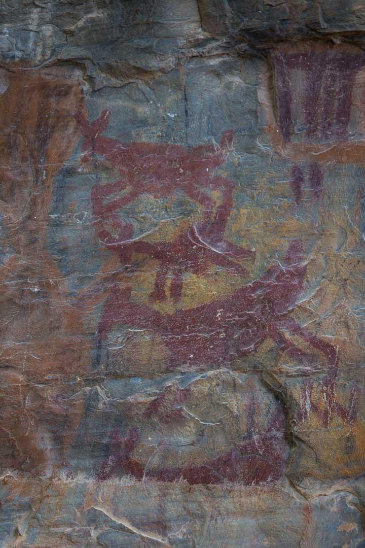 3 cervídeos vermelhos em pinturas rupestres