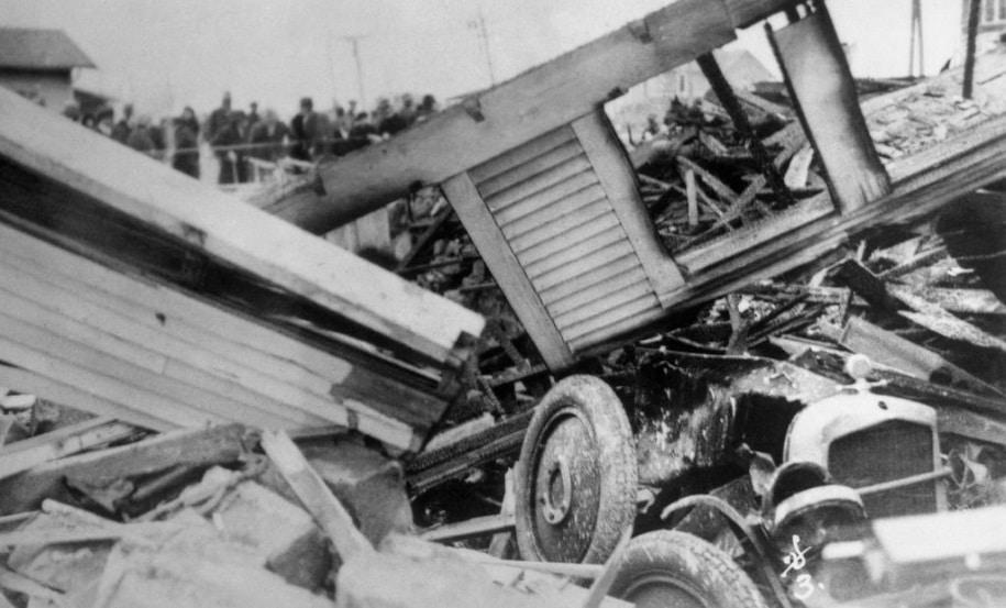 casa de osage destruída pela bomba