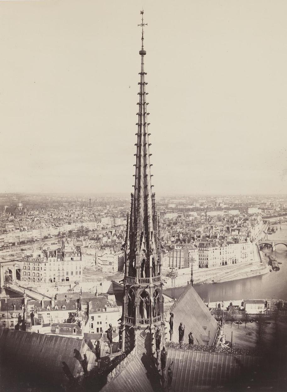 Spire of Notre Dame, Viollet-le-Duc, Architect, 1859–60 Charles Marville paris