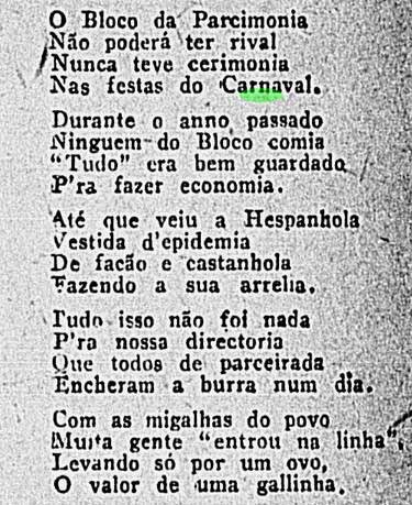 bloco da parcimônia, carnaval 1919