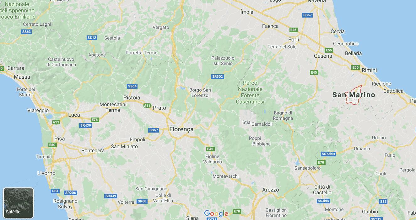 mapa da itália incluindo san marino