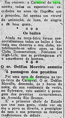 resumo carnaval 1919