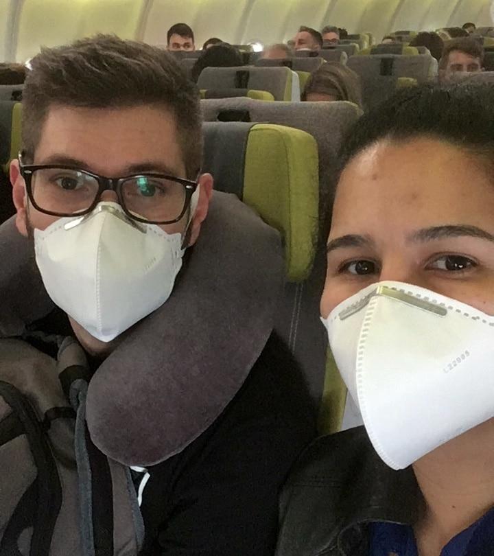 aviao de mascara procedimentos seguranca teste covid