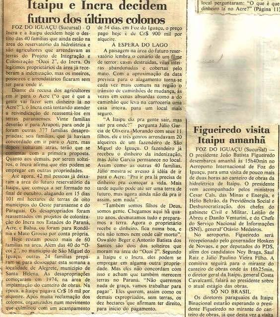 Foto de reportagem para o jornal da época sobre o reassentamento dos colonos das Sete Quedas