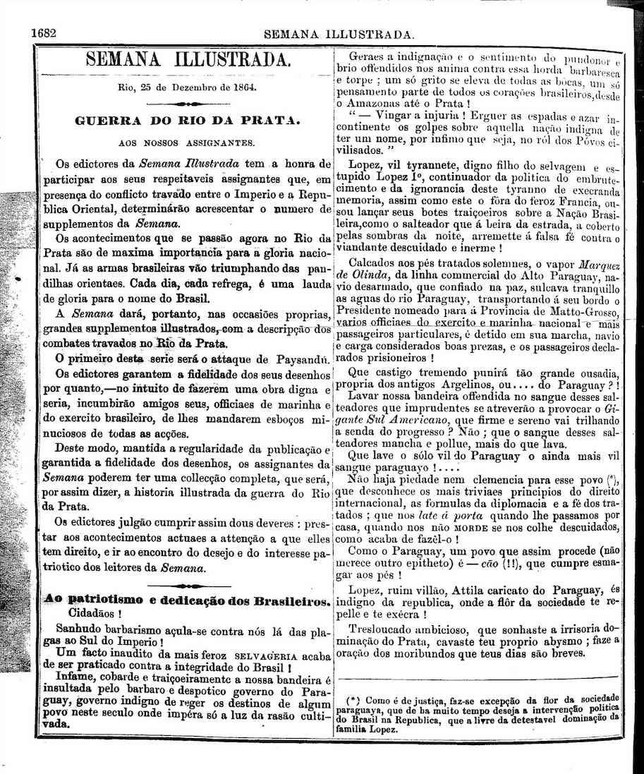 declaracao da guerra do paraguai semana ilustrada 1864 25 de dezembro
