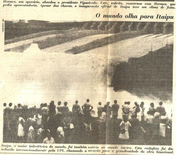 Notícia de jornal da época sobre a inauguração de Itaipu