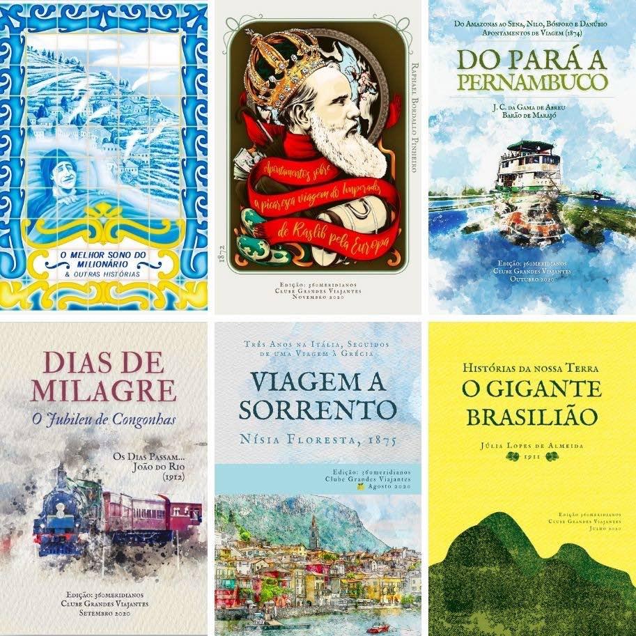 Capas de livros Grandes Viajantes Clube de Literatura de viagem