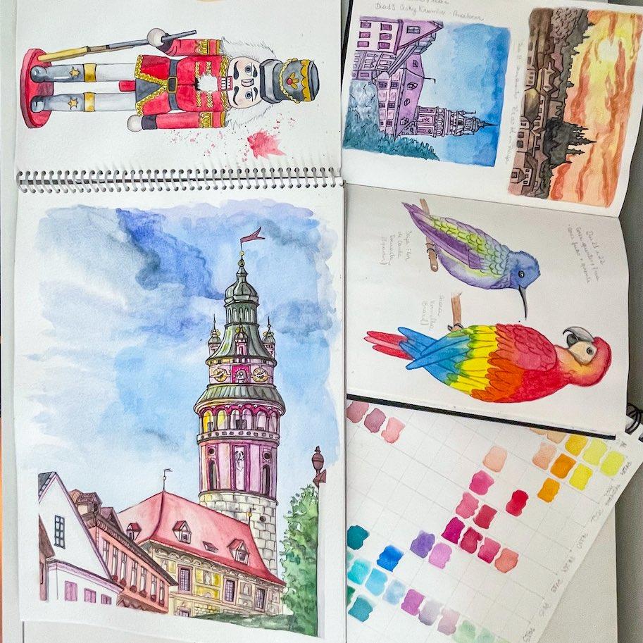 sketchbook aquarela viagem